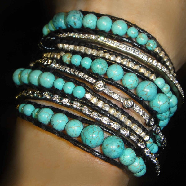Large Tourquoise / Sterling wrap bracelet