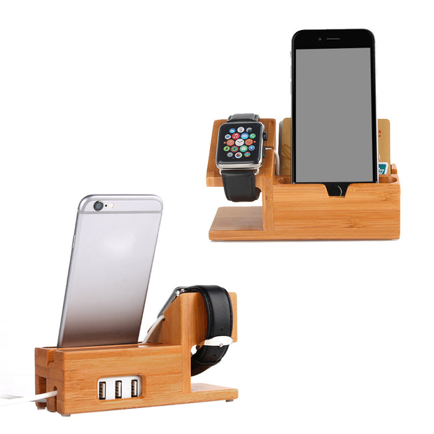 USB Bamboo Wood Charging Station Stand Holder