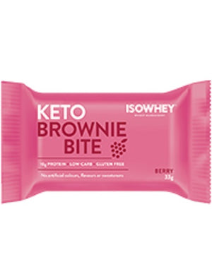 BioCeuticals IsoWhey Keto Brownie Bite Berry 330g (10 x 33g pack)  10% off RRP | HealthMasters