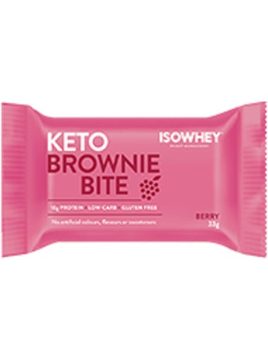 BioCeuticals IsoWhey Keto Brownie Bite Berry 330g (10 x 33g pack)