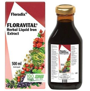 Floradix Floravital Herbal Liquid Iron Extract 500ml 10% off RRP | HealthMasters