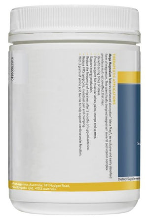 Ethical Nutrients MEGAZORB Mega Magnesium Powder (Citrus) 200g Side B | HealthMasters