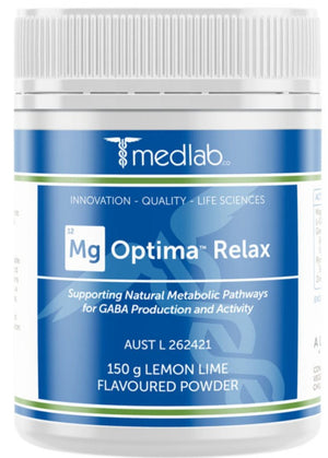 Medlab Mg Optima Relax Lemon Lime Flavoured 150g 10% off RRP at HealthMasters