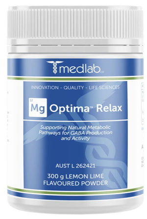 Medlab Mg Optima Relax Lemon Lime Flavoured 300g 10% off RRP at HealthMasters Medlab