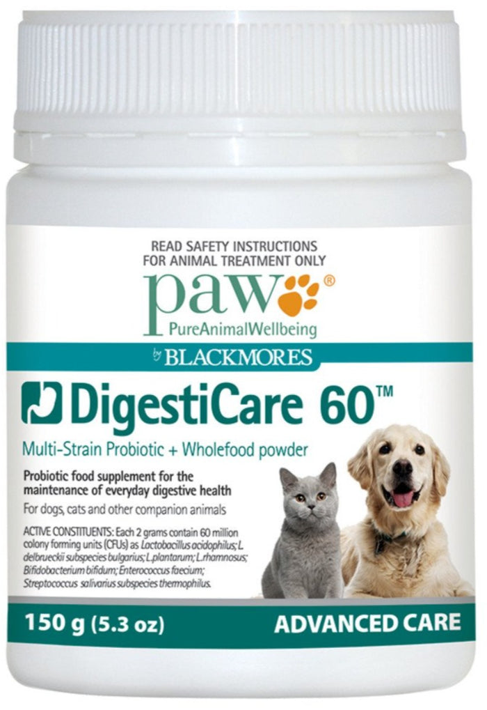 PAW By Blackmores DigestiCare 60 (Multi-Stain Probiotic + Wholefood Powder) 150g