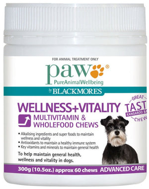 PAW By Blackmores Wellness + Vitality Multivitamin & Wholefood Chews 300g 10% off RRP at HealthMasters PAW by Blackmores