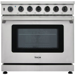 LRG3601U Thor Kitchen – 36 inch Professional Gas Range in Stainless Steel