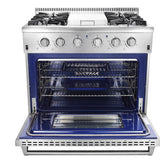 stainless steel gas range