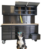72 INCH BLACK STEEL TOOL CABINET WITH PEGBOARD & UPPER CABINETS