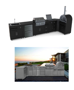 THOR pro-style 8-piece Modular Outdoor Kitchen Suite( BLACK)