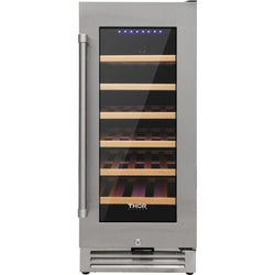 15 Inch Stainless Steel Built-In and Freestanding Wine Cooler