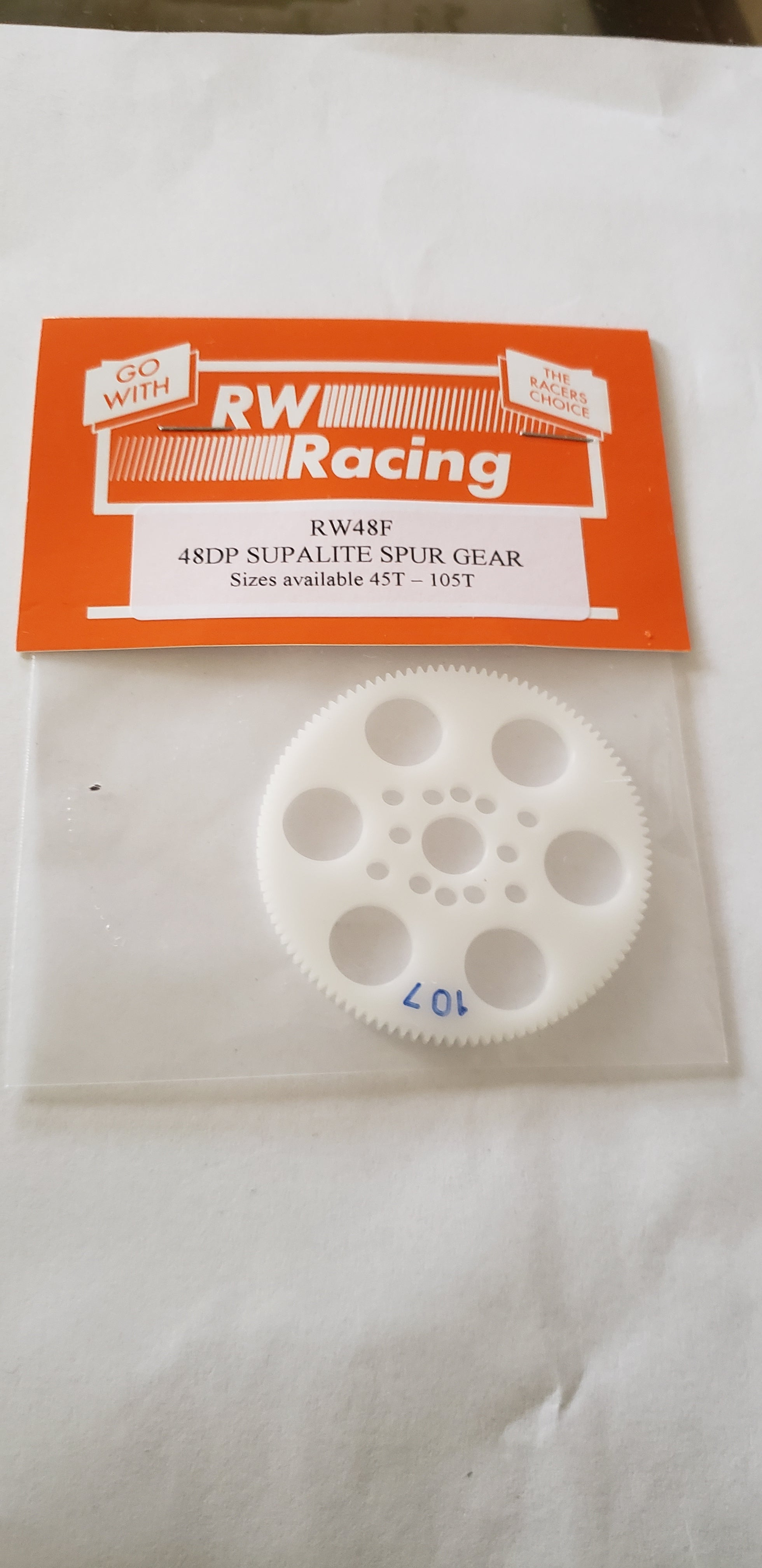 RW Racing Spur Gear 107 tooth 48 pitch for RC Drag Racing