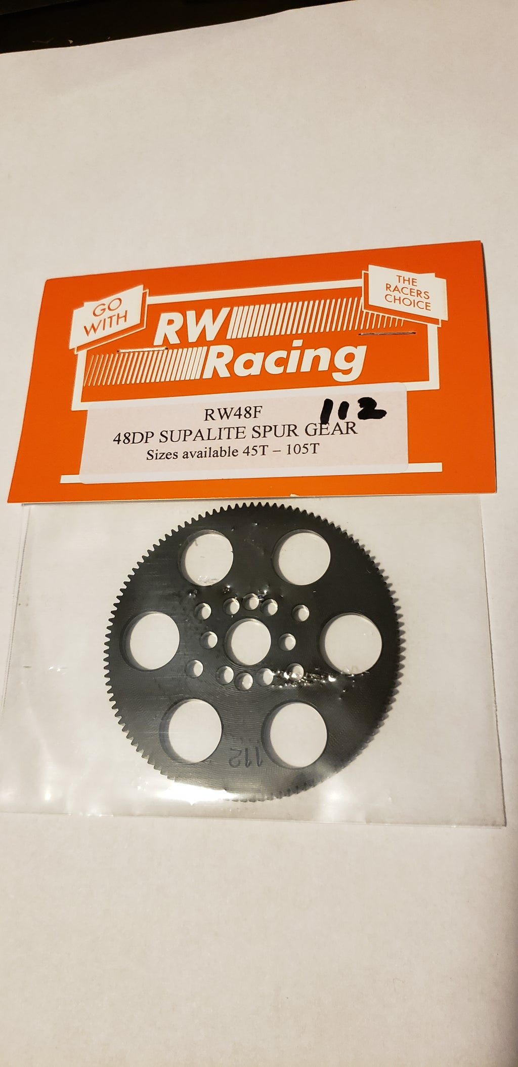 RW Racing Spur Gear 112 tooth 48 pitch for RC drag racing