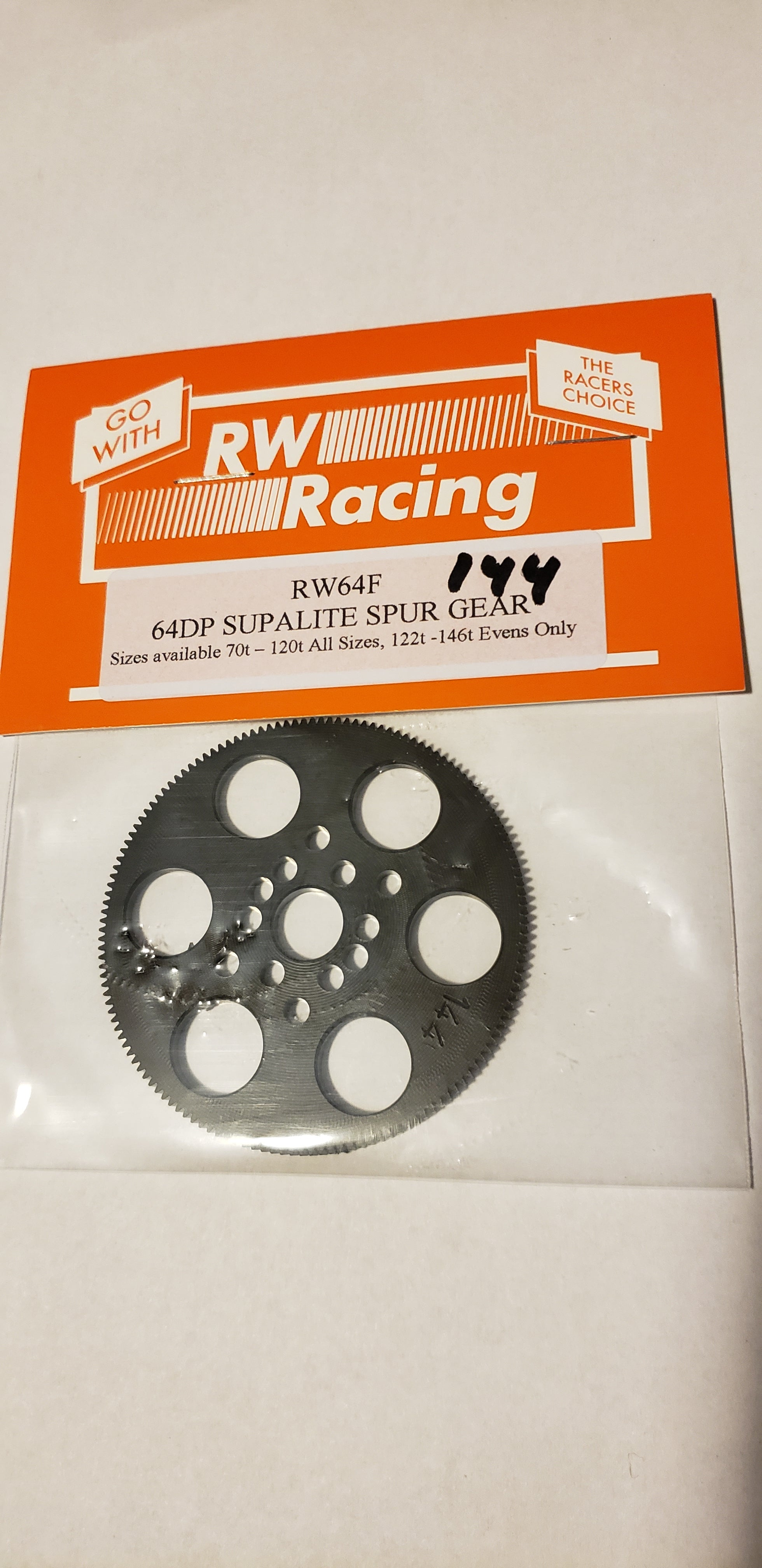 RW Racing Spur Gear 144 tooth 64 pitch for RC Drag Racing