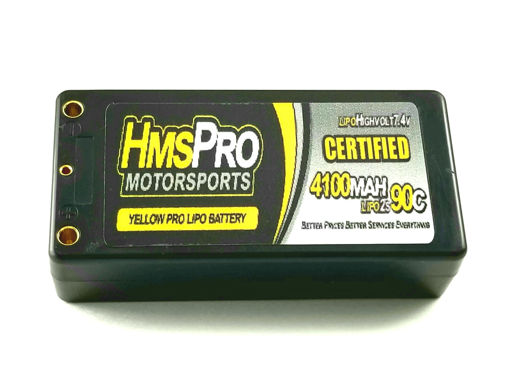 Yellow Pro Lipo 2s 4100Mah 90C batteries short Pack