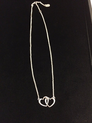 James Avery Sterling Silver Double Heart Linked Necklace