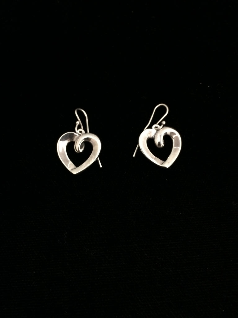 James Avery Sterling Silver Heart Ribbon Dangle Earrings (Retired)