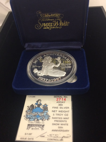 "Snow White 50th Anniversary ""Snow White"" 5oz silver medallion"