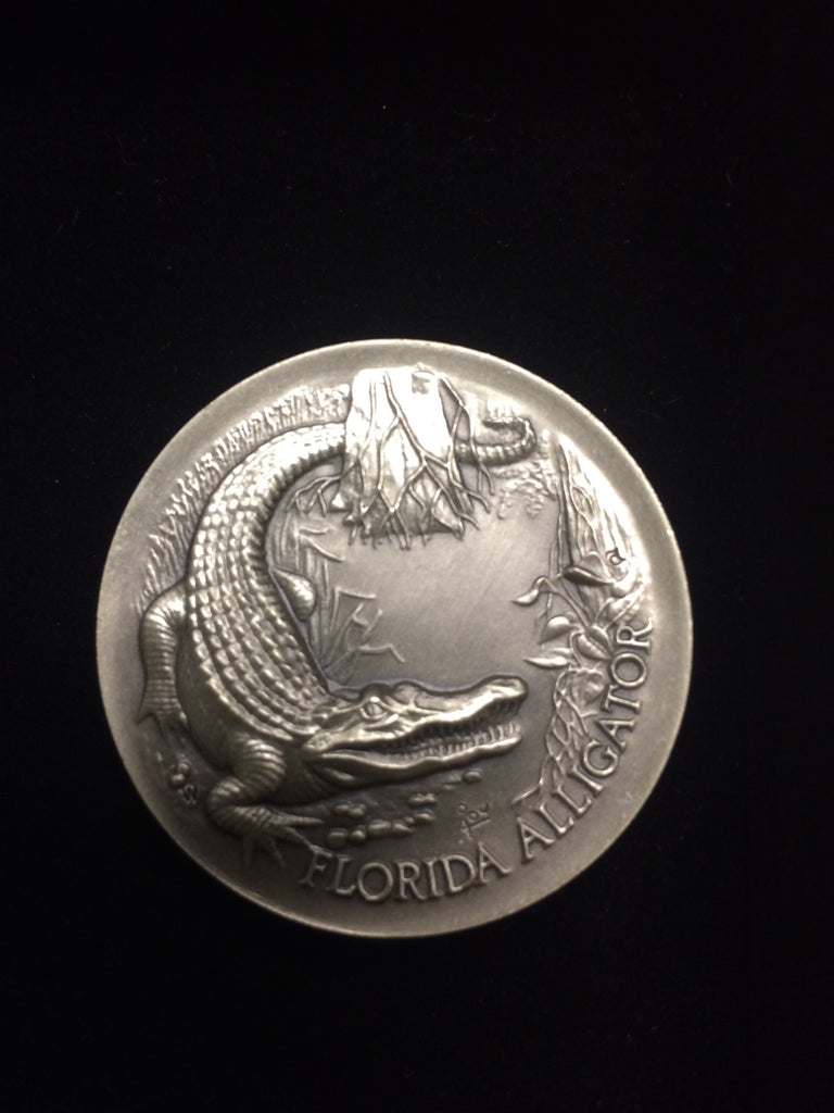 "Florida Alligator ""America's Natural Legacy"" Series Endangered Wildlife High Relief Sterling Silver Medallion"