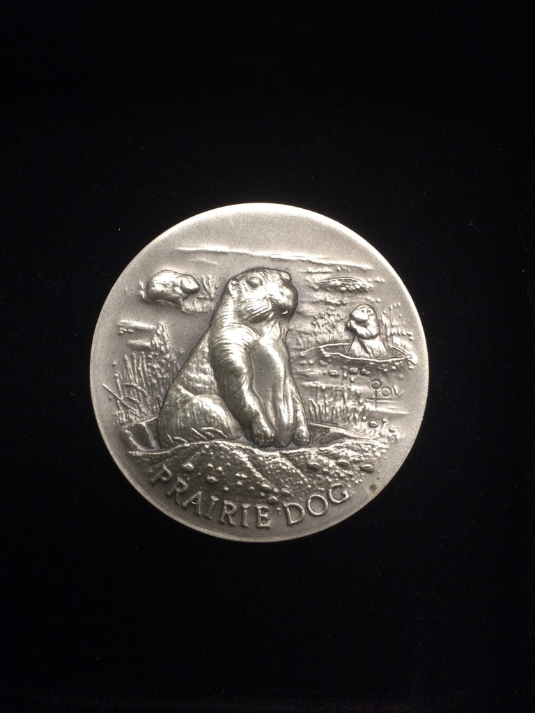 "Prairie Dog ""America's Natural Legacy"" Series Endangered Wildlife High Relief Sterling Silver Medallion"