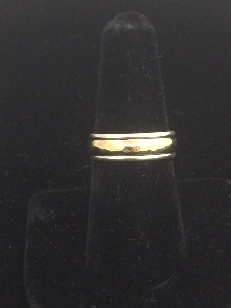 James Avery 14k Gold & Sterling Silver Hammered Simplicity Ring