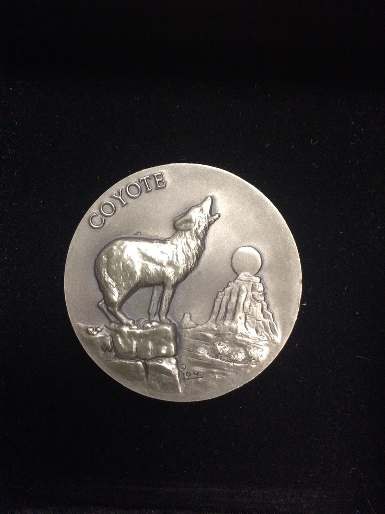 "Coyote ""America's Natural Legacy"" Series Endangered Wildlife High Relief Sterling Silver Medallion"