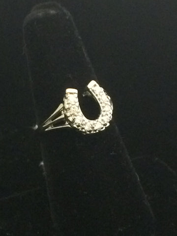 14k White Gold and Diamond Horseshoe Ring