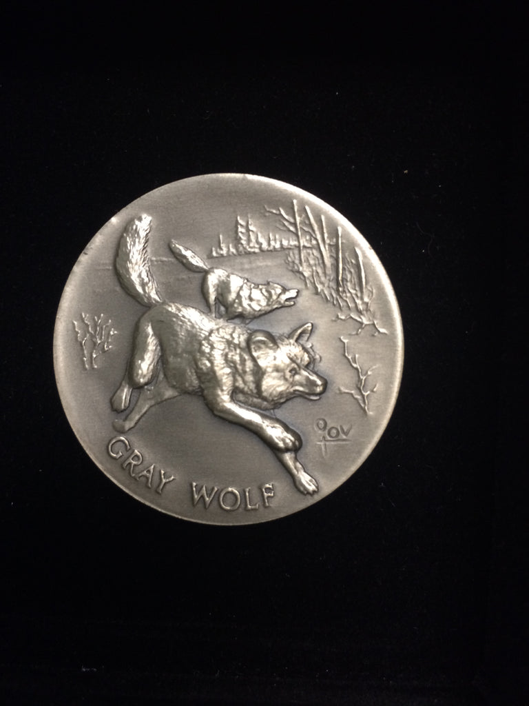 "Gray Wolf ""America's Natural Legacy"" Series Endangered Wildlife High Relief Sterling Silver Medallion"