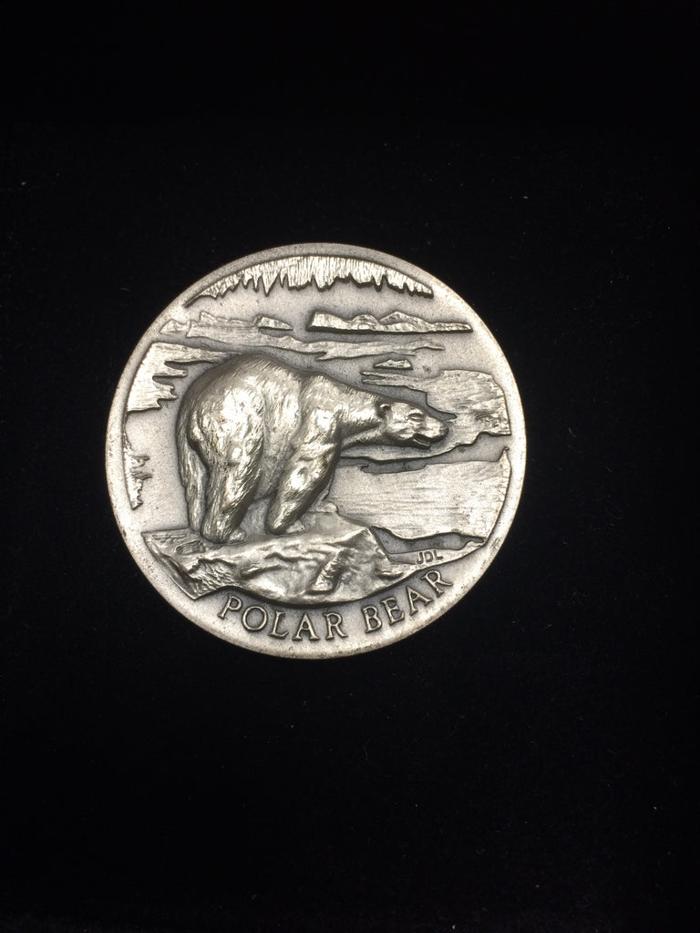 "Polar Bear ""America's Natural Legacy"" Series Endangered Wildlife High Relief Sterling Silver Medallion"