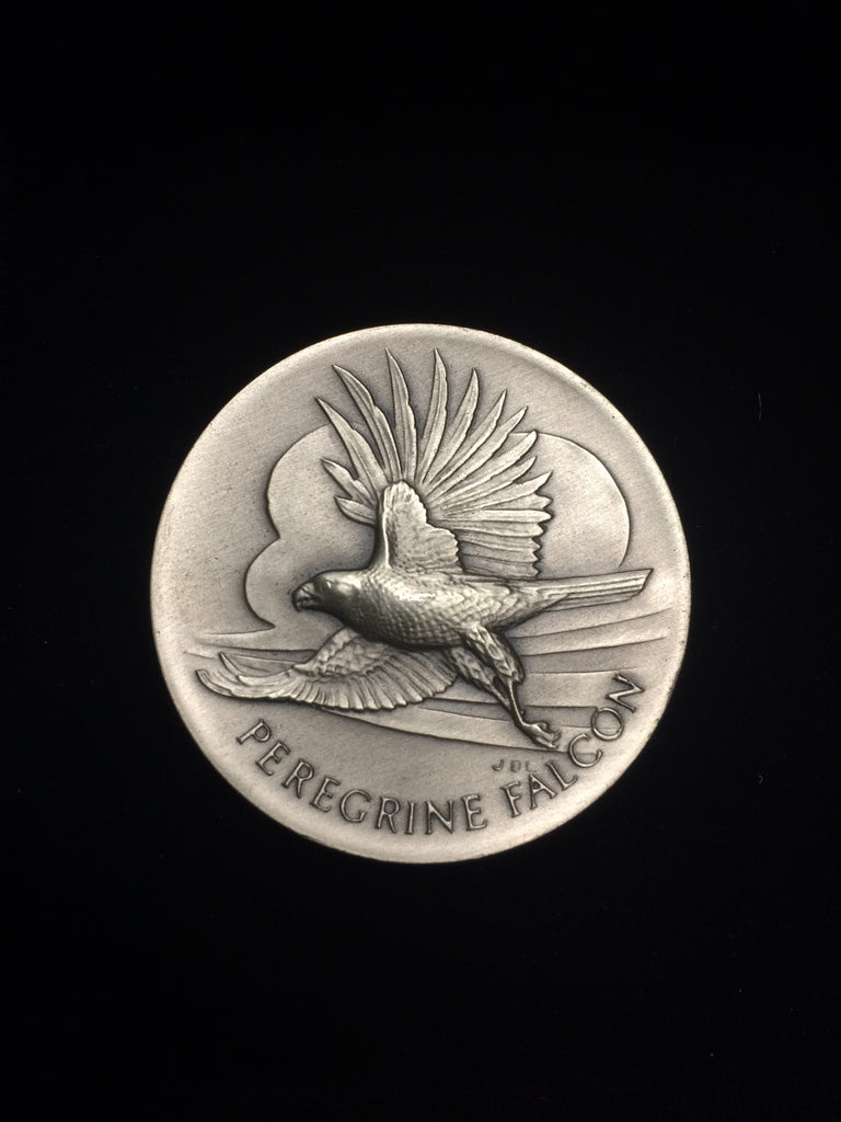"Peregrine Falcon ""America's Natural Legacy"" Series Endangered Wildlife High Relief Sterling Silver Medallion"
