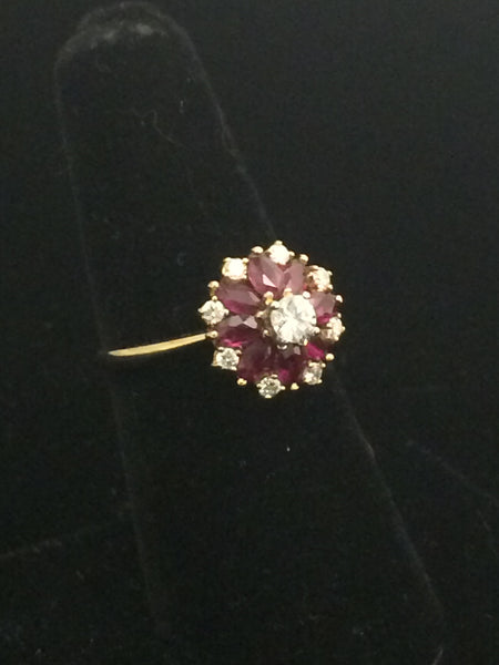 14k Gold Ruby & Diamond Flower Ring