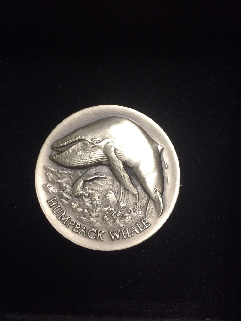 "Humpback Whale ""America's Natural Legacy"" Series Endangered Wildlife High Relief Sterling Silver Medallion"