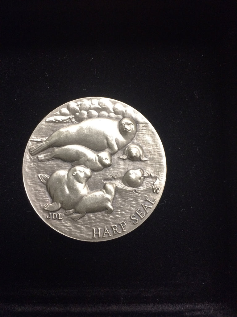 "Harp Seal ""America's Natural Legacy"" Series Endangered Wildlife High Relief Sterling Silver Medallion"