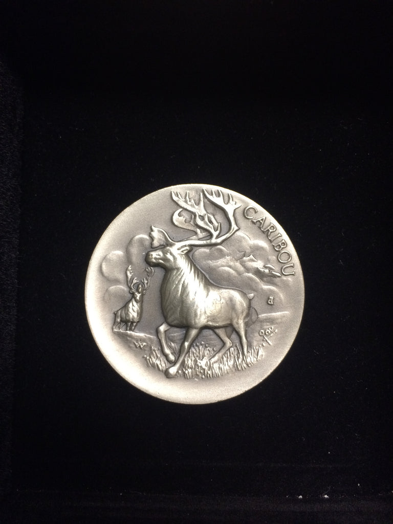 "Caribou ""America's Natural Legacy"" Series Endangered Wildlife High Relief Sterling Silver Medallion"