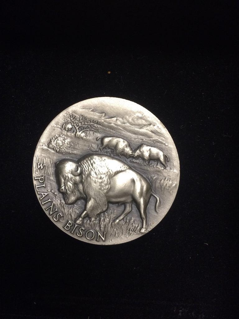 "Plains Bison ""America's Natural Legacy"" Series Endangered Wildlife High Relief Sterling Silver Medallion"