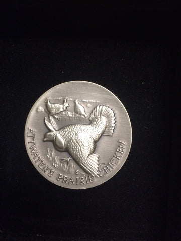 "Attwater's Prairie Chicken ""America's Natural Legacy"" Series Endangered Wildlife High Relief Sterling Silver Medallion"