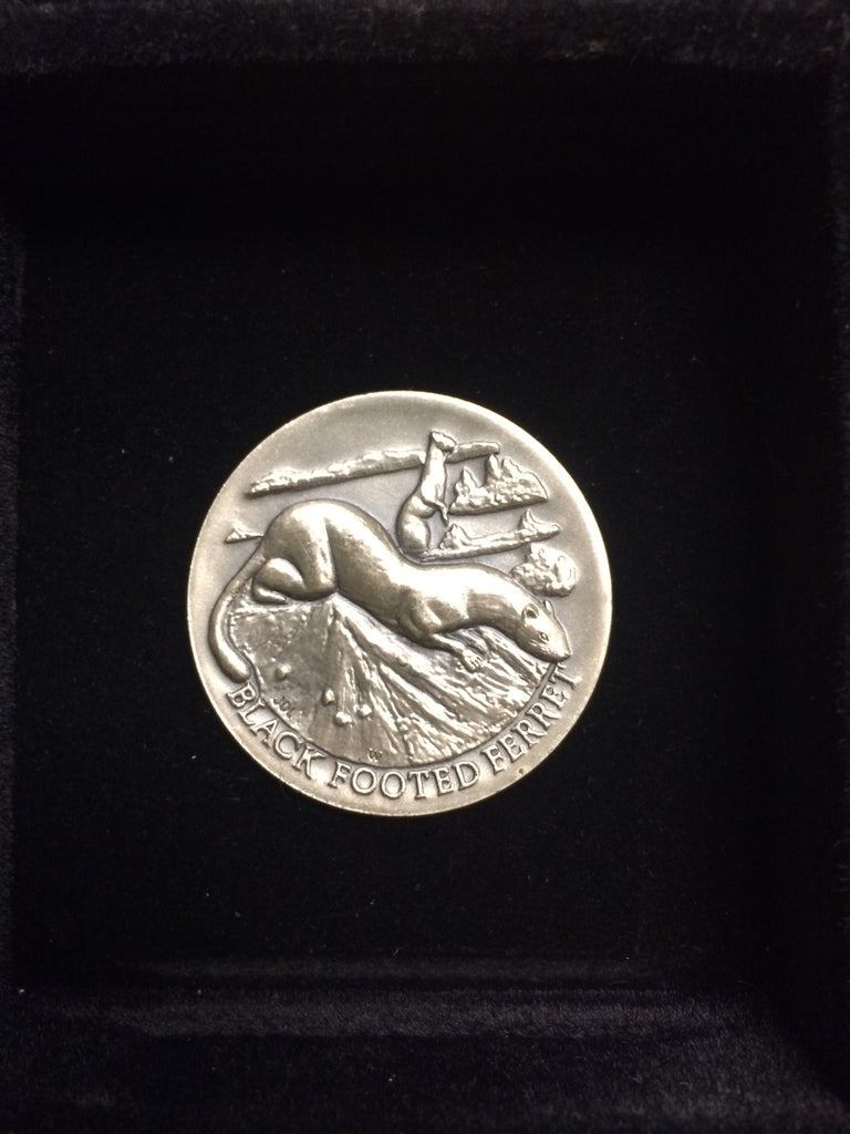 "Black Footed Ferret ""America's Natural Legacy"" Series Endangered Wildlife High Relief Sterling Silver Medallion"