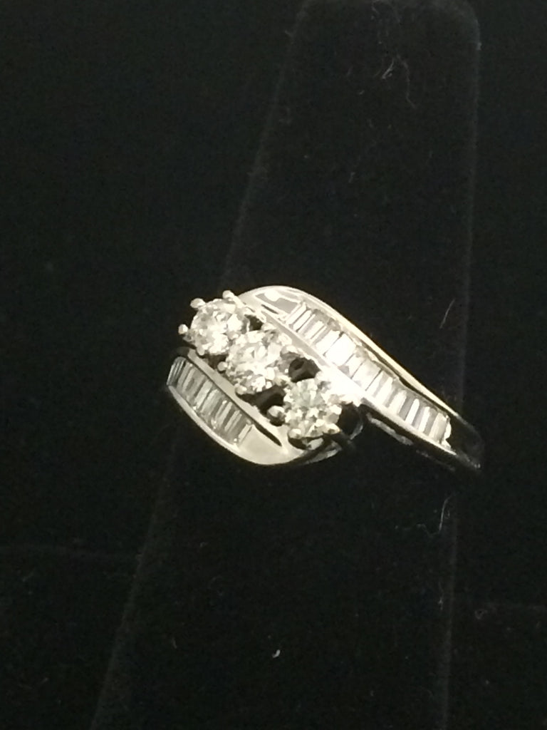 Past Present Future 14k White Gold Diamond Ring