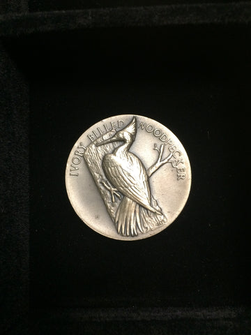 "Ivory Billed Woodpecker ""America's Natural Legacy"" Series Endangered Wildlife High Relief Sterling Silver Medallion"