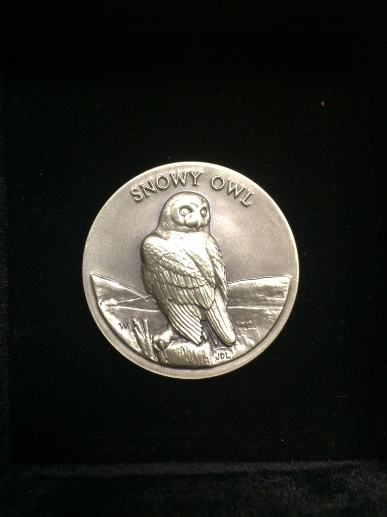 "Snowy Owl ""America's Natural Legacy"" Series Endangered Wildlife High Relief Sterling Silver Medallion"