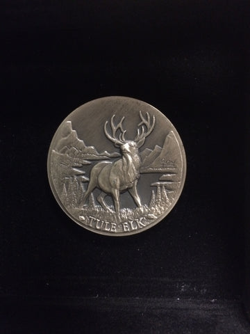 "Tule Elk""America's Natural Legacy"" Series Endangered Wildlife High Relief Sterling Silver Medallion"