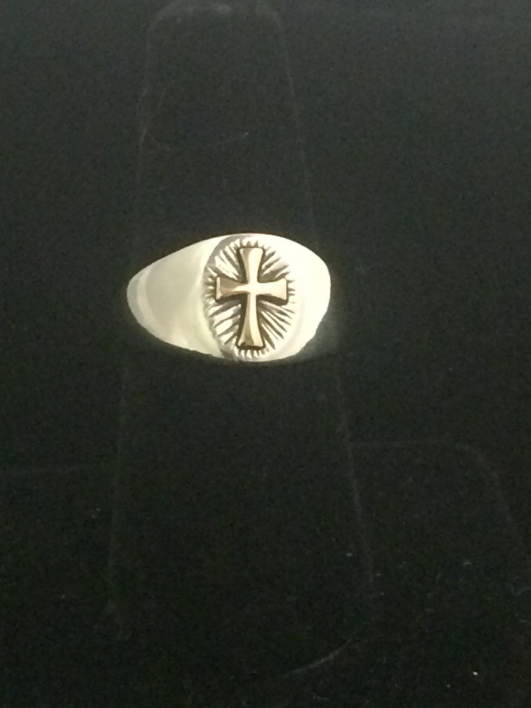 James Avery 14K Gold & Sterling Silver Radiant Cross Ring (Retired)