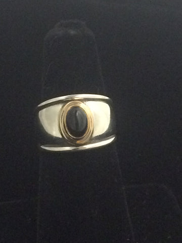 James Avery 18K Gold & Sterling Silver Christina Ring with Onyx Stone (Retired)