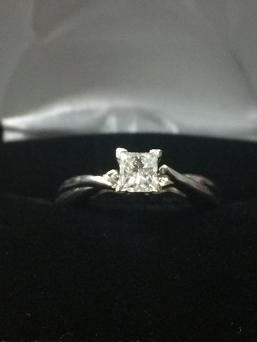Diamond Engagement Ring - .38ct Princess Cut Solitaire