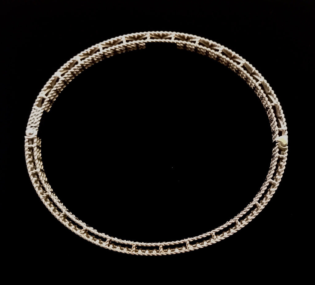 Roberto Coin 18k White Gold Diamond Symphony Braided Bangle Bracelet