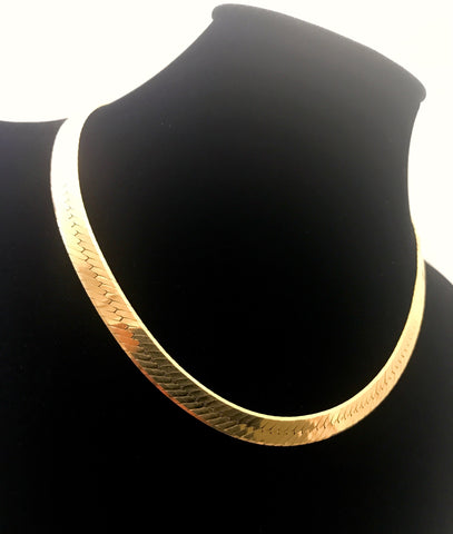 "14k Gold 17"" Herringbone Necklace"
