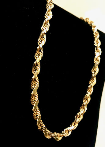 "10k Gold 26"" Diamond Cut Rope Necklace"