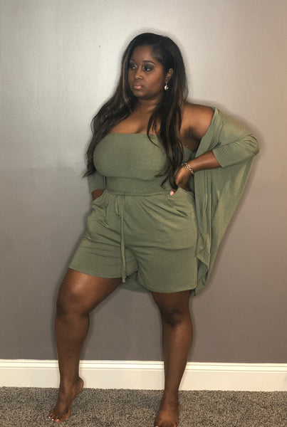Now Boarding Romper Set - Olive