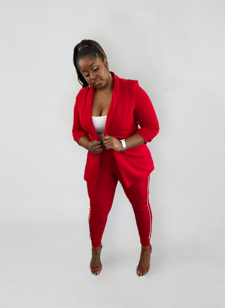 Red suit ; delta sigma theta ; delta girl; aoml; sporty suit