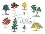 City of Trees II, Sacramento CA, New Version A7 Greeting Card/ 5x7 Art Print